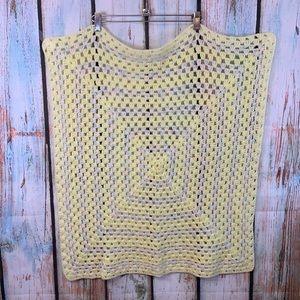Handmade Vintage Crochet Yellow, White, Pink & Blue  Baby Blanket
